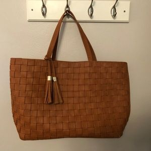 Merona Camel Colored Large Tote with Tassels